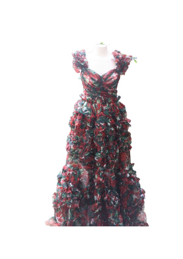 Dolce and Gabbana Geranium Print Gown