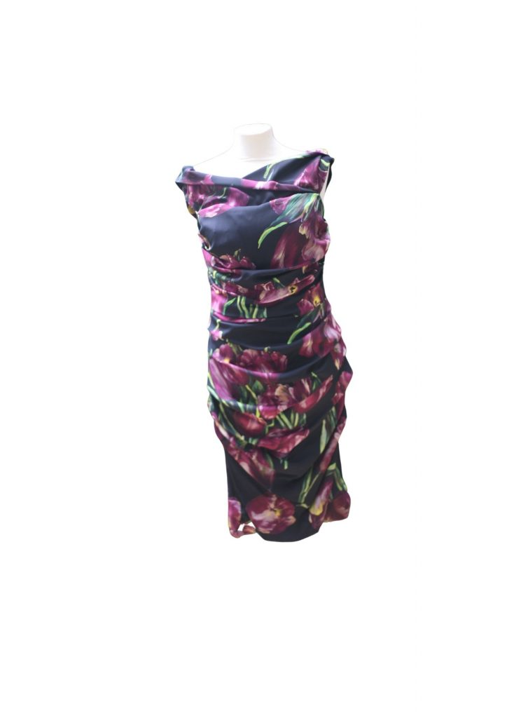 Dolce And Gabbana Purple Floral Dress