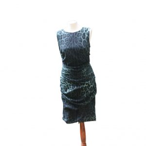 Dolce and Gabbana Green Leopard Print Preloved Dress