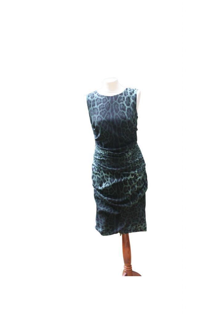 Green Leopard Print Silk Dolce and Gabbana Dress