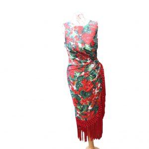 Geranium Print Fringed Silk Dress